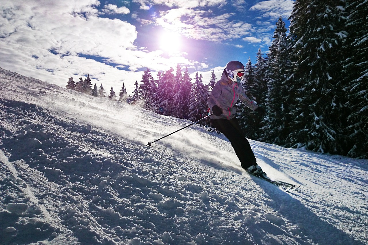 skiing, girl, sun